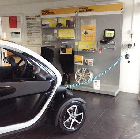 SYMPHONY EV-ZE Adapter charging a Twizy at Renault