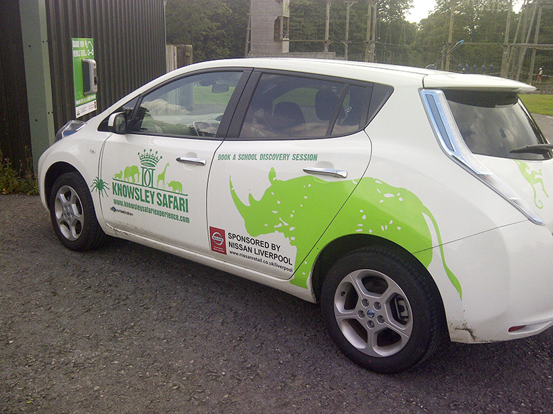 SYMPHONY EV Nissan Leaf at Knowsley Safari Park